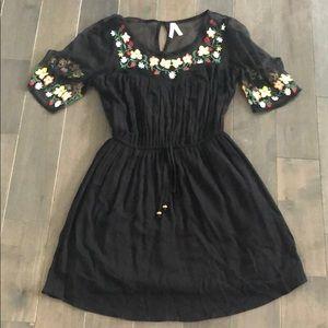 Black Mesh/Floral Dress